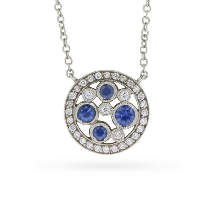 90abb4450 Tiffany Co Cobblestone Collection Montana Sapphire And Diamond. Color  Byzare 3p Blue Sapphire Diamond Platinum 950 Pendant ...