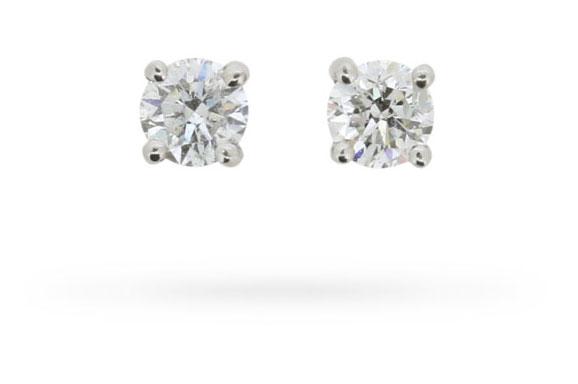 0.30 Carat Round Brilliant Cut Diamond Stud Earrings