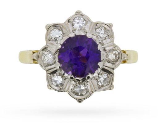 Vintage Amethyst & Diamond Flower Cluster Ring, Circa 1940s