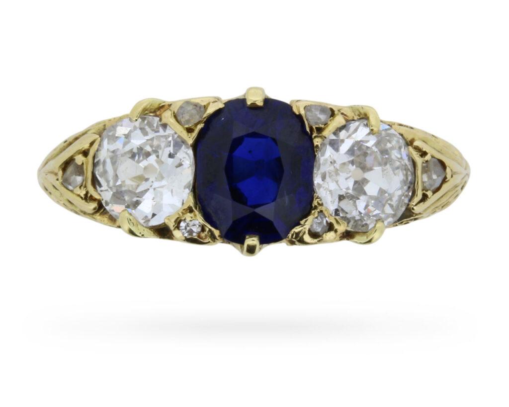 Victorian Three Stone Sapphire and Diamond Ring